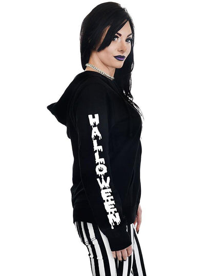 "Women's ""Halloween Everyday"" Zip Hoodie by Too Fast (Black)"