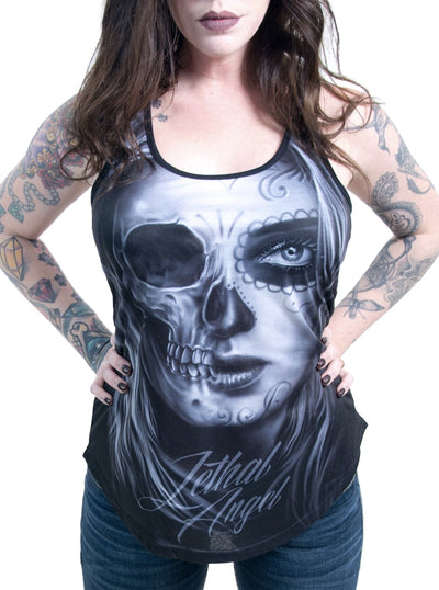 "Women's ""Half DOD Skull"" Sublimation Tank by Lethal Angel (Black)"