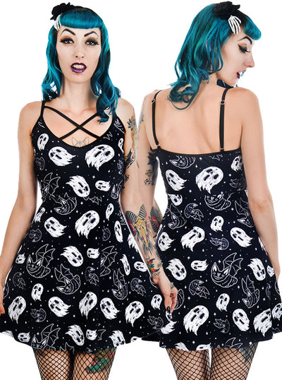 "Women's ""Halloween Vibes"" Skater Dress by Too Fast (Black)"