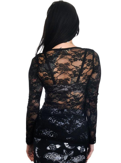 "Women's ""Hand In The Moon"" Kelly Lace Back Top by Too Fast (Black)"