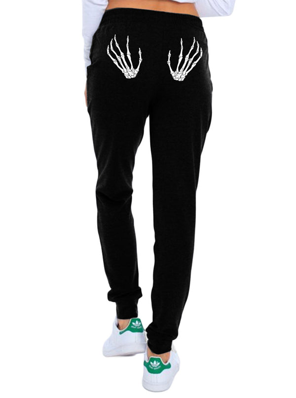 Women's Skeletons Hands Skinny Leg Sweatpants by Too Fast