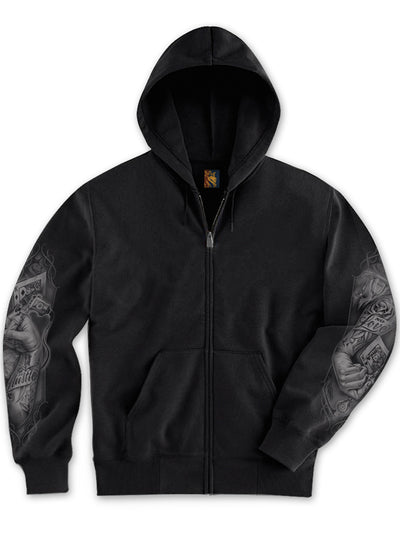 "Men's ""Tattoo Hands"" Zip Hoodie by OG Abel (Black)"