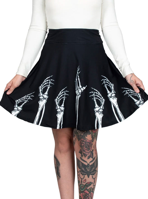 "Women's ""Hands Up"" Skater Skirt by Too Fast (Black)"