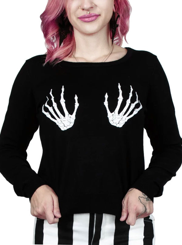 Women's Skeleton Hands Fitted Sweater by Too Fast