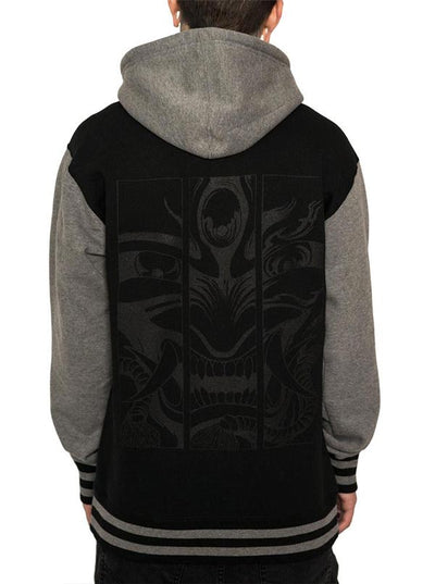 Unisex Hannya Varsity Hoodie by InkAddict (Black Collection)