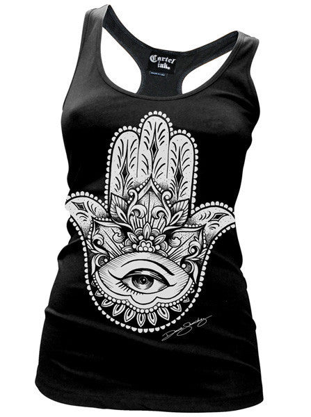 "Women's ""Hamsa"" Racerback Tank by Cartel Ink (Multiple Colors) - www.inkedshop.com"