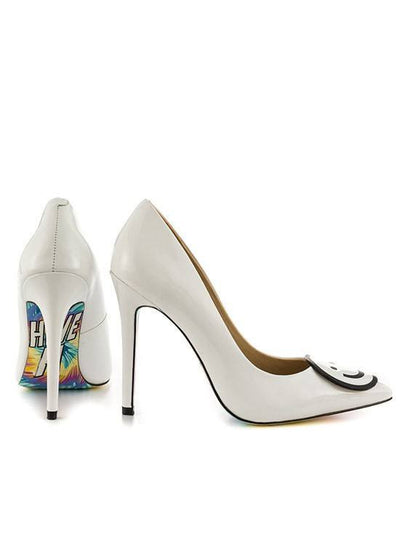 """Be Happy"" Heels by Taylorsays (White) - www.inkedshop.com"