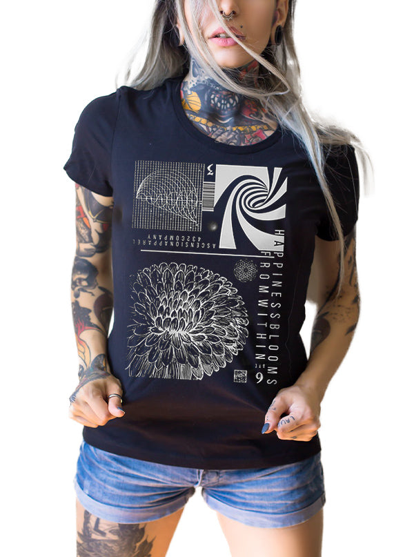Women's Happiness Blooms From Within Tee by Ascension Apparel