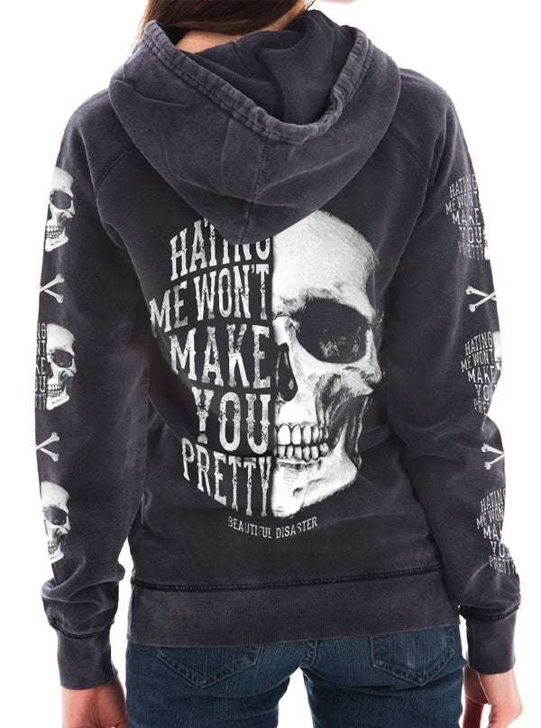 Women's Hating Me Skull Hoodie by Beautiful Disaster