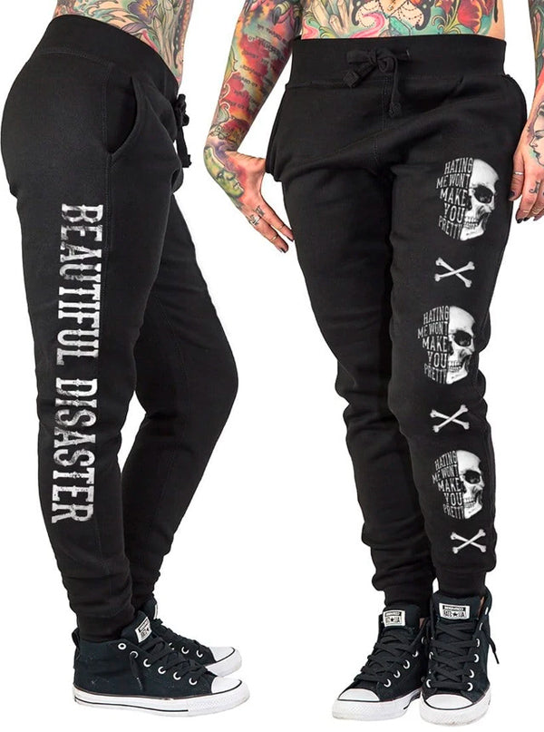 Women's Hating Me Skull Joggers by Beautiful Disaster