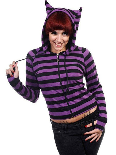 "Women's ""Cat Ears"" Zip-Up Hoodie by Banned Apparel (Multiple Options) - www.inkedshop.com"