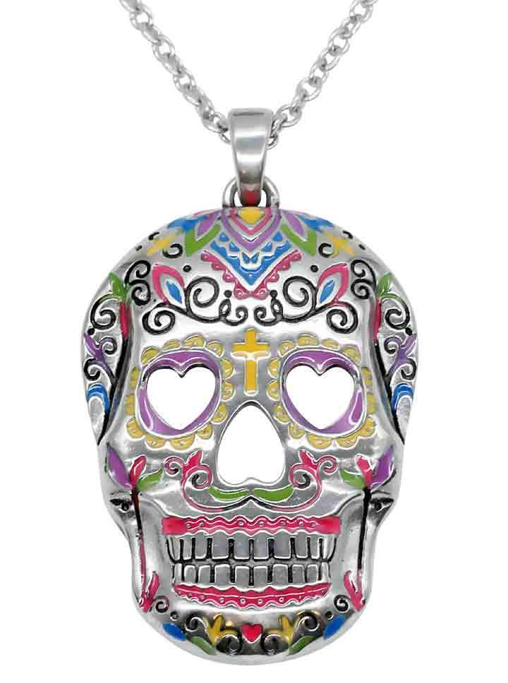 Heart Eyes Sugar Skull Necklace by Controse (Silver/Multi)
