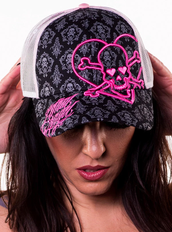 Heart Skull Hat by Lethal Angel