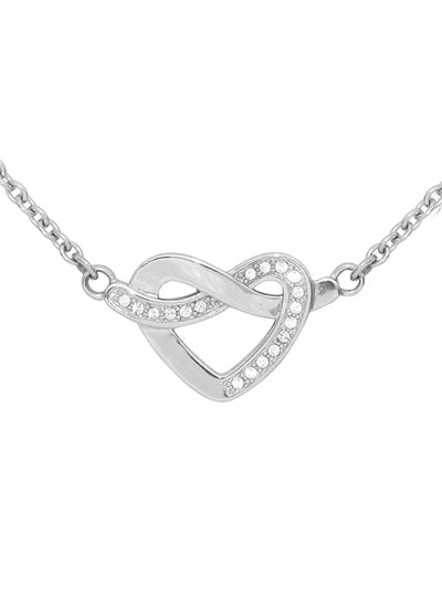 Glimmering Heart Knot Necklace by Controse