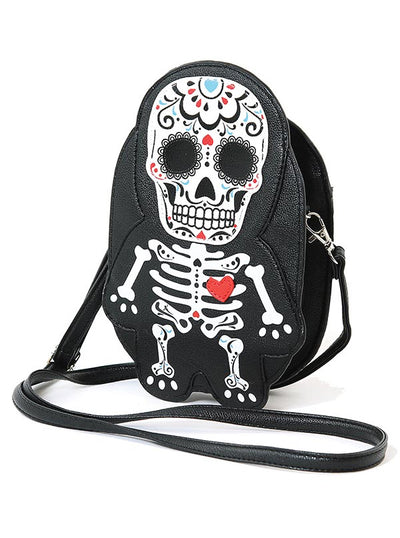 """Tattooed Skeleton Man with A Heart"" Shoulder Crossbody Bag (Black)"