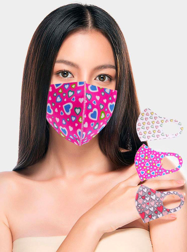 Random Hearts Pattern Face Mask