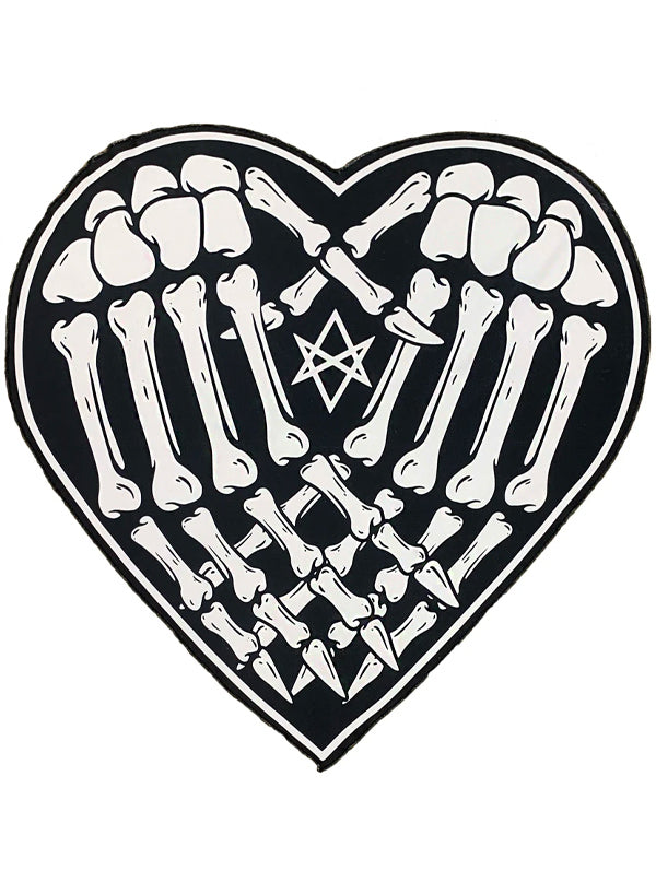 Skeleton Hands Heart Beach Towel by Too Fast