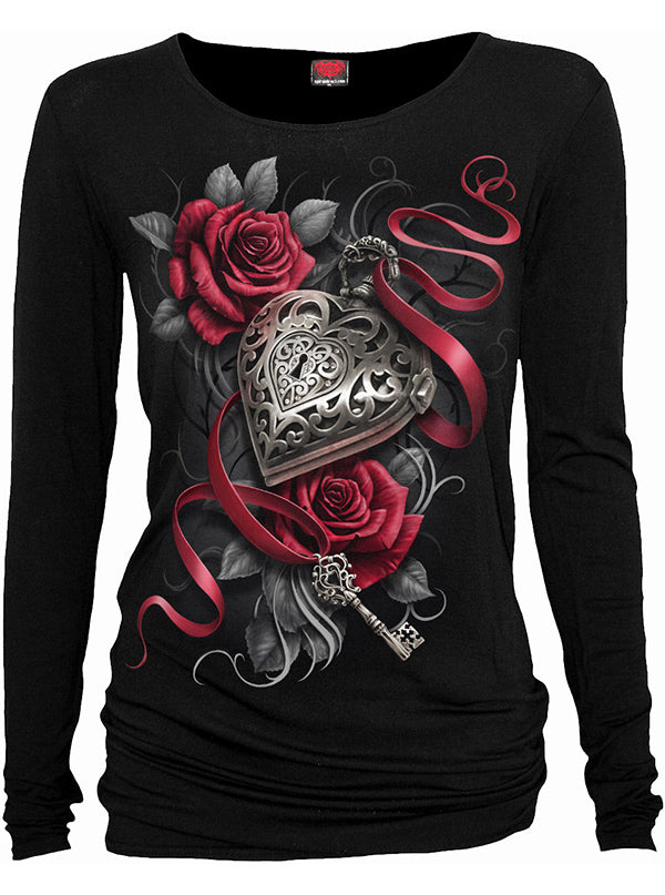 Women's Heart Locket Long Sleeve Top by Spiral USA