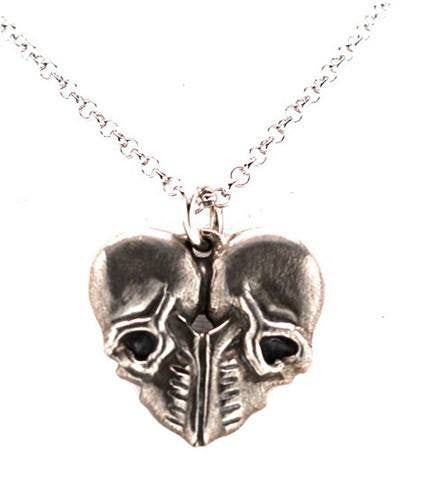 Heart of Skulls Silver Necklace by Blue Bayer Design - InkedShop - 1