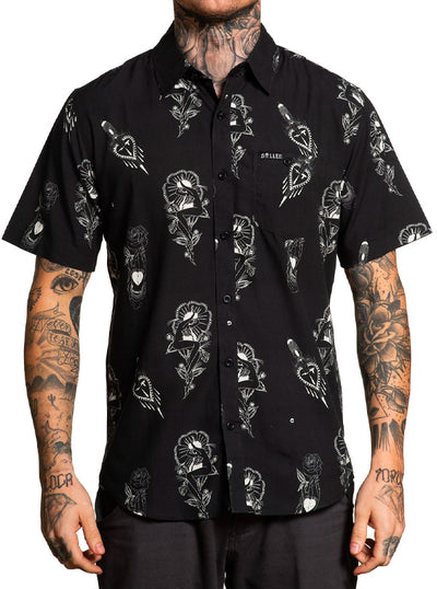 Men's Teen Hearts Button Up by Sullen