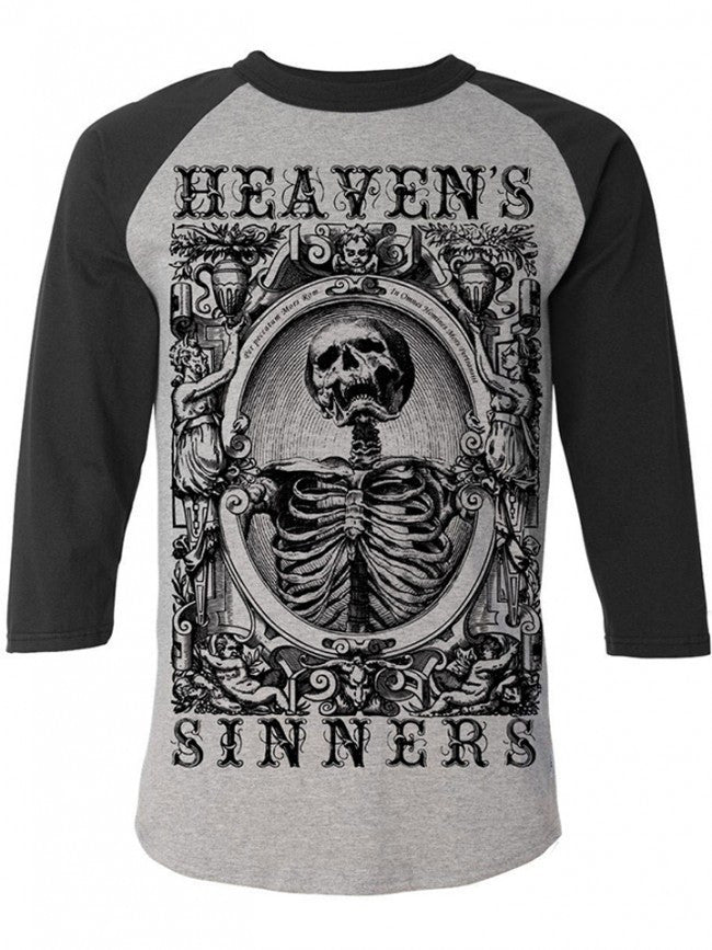 "Men's ""Heaven's Sinners"" Baseball Tee by Se7en Deadly (Black/Grey) - InkedShop - 1"