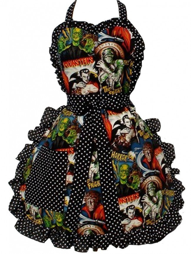 "Women's ""Hollywood Monsters Horror Movie"" Apron by Hemet (Black) - www.inkedshop.com"