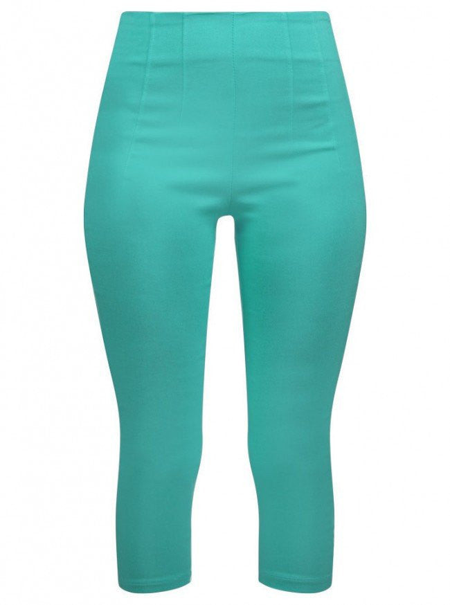 "Women's ""Retro Gal"" High Waist Capris by Double Trouble Apparel (Mint) - www.inkedshop.com"
