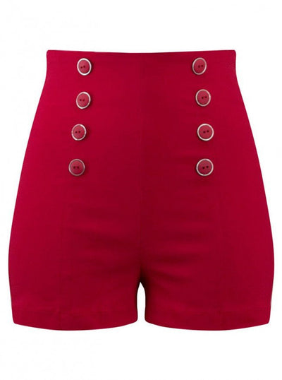 "Women's ""Pin Me Up"" High Waist Shorts by Double Trouble Apparel (Red) - www.inkedshop.com"