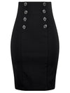 "Women's ""High Waist"" Pin Me Up Pencil Skirt by Double Trouble Apparel (Black) - www.inkedshop.com"