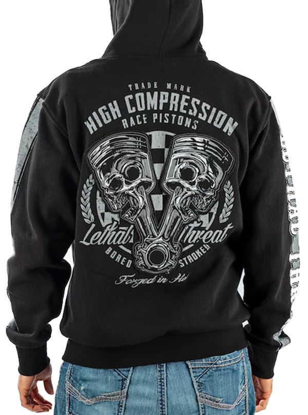 "Men's ""High Compression"" Zip-Up Hoodie by Lethal Threat (Black)"