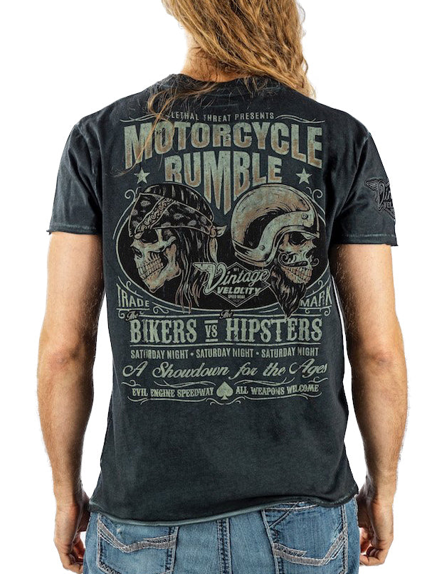 "Men's ""Biker VS Hipster"" Tee by Lethal Threat (Charcoal)"