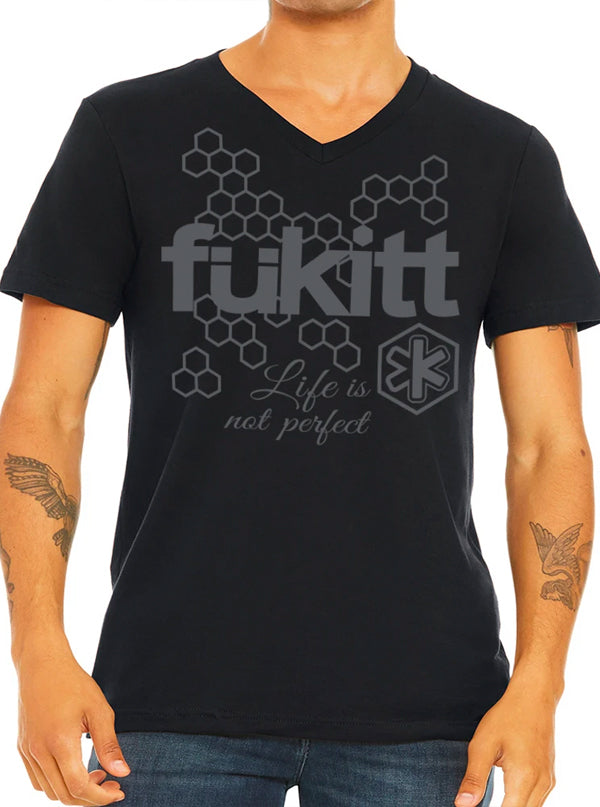 Men's Honeycomb V-Neck Tee by Fukitt Clothing