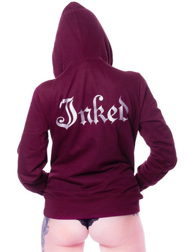 Women's Inked Logo Hoodie by Inked (Blackberry)