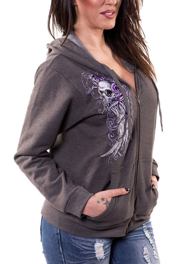 "Women's ""Embroidered Skull"" Zip-Up Hoodie by Lethal Angel (Grey)"