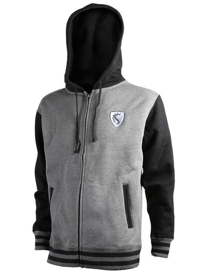 "Men's ""Lion Shield"" Duo-Tone Zip Hoodie by OG Abel (Charcoal)"
