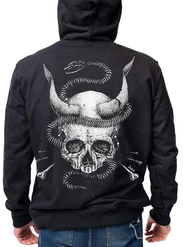 Unisex Snake Skull Zip Up Hoodie by Inked