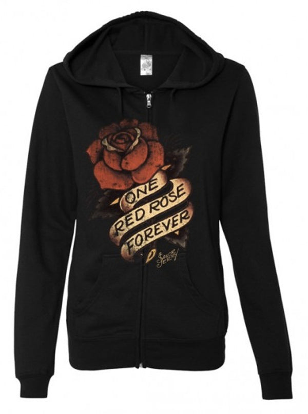 Women's One Red Rose Hoodie by Sailor Jerry