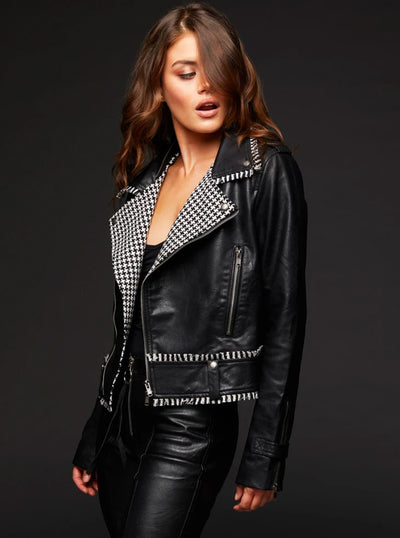 Women's Atomic Houndstooth Moto Jacket by Pretty Attitude Clothing