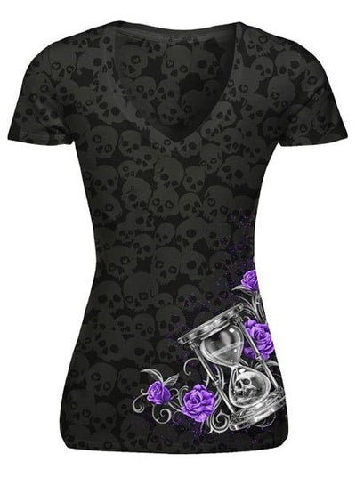 "Women's ""Hourglass Skull"" Skull Burnout V-Neck Tee by Lethal Angel (Black) - www.inkedshop.com"
