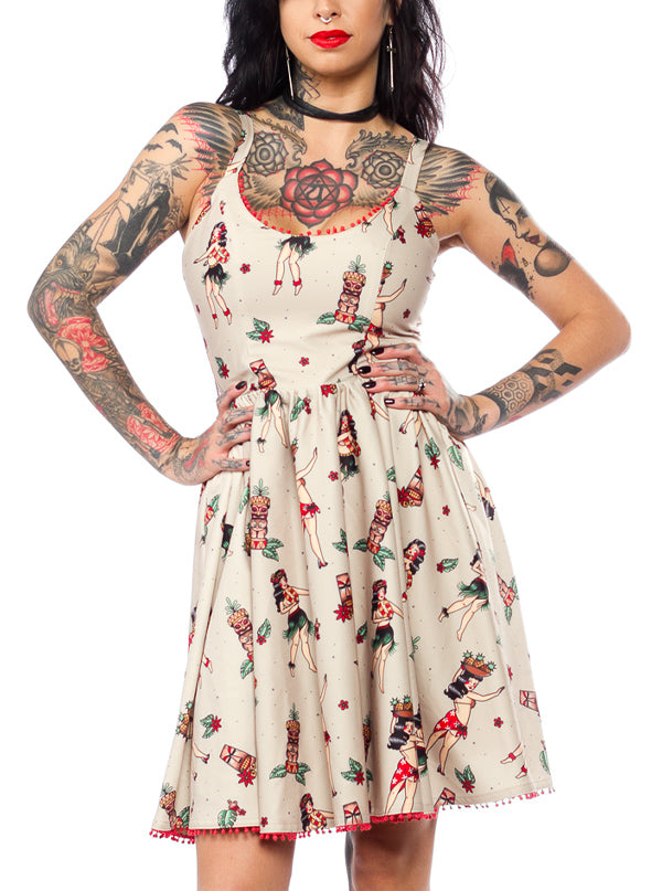 Women's Hula Gals Sweets Dress by Sourpuss (Tan)
