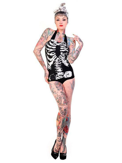 "Women's ""Skeleton"" Retro Swimsuit by Banned Apparel (Black) - www.inkedshop.com"
