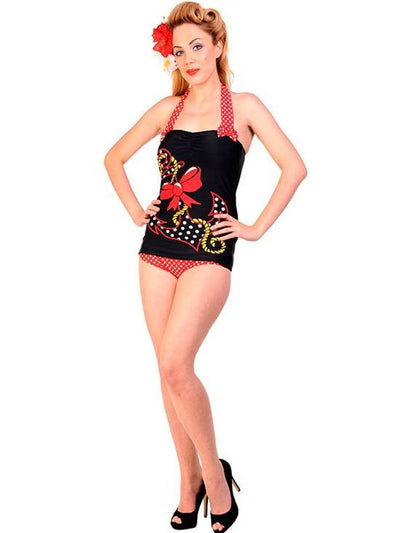 "Women's ""Big Anchor"" Retro Swimsuit by Banned Apparel (Black/Red) - www.inkedshop.com"