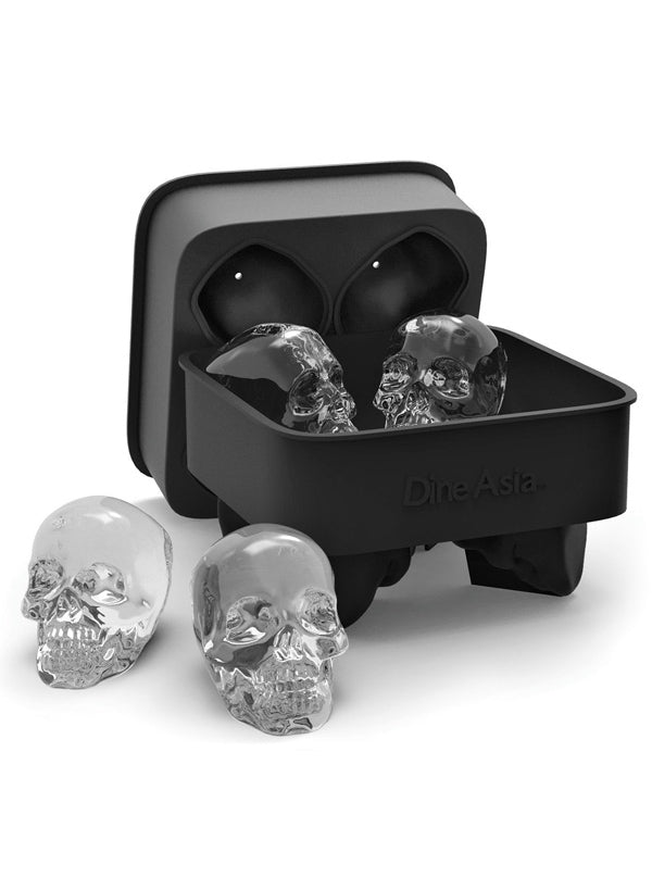 """3D Skull"" Silicone Ice Cube Mold Tray (Black)"