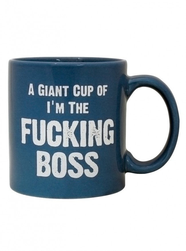 """I'm The Fucking Boss"" Giant Mug (Blue) - www.inkedshop.com"