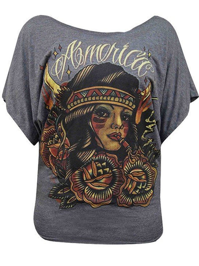 "Women's ""America"" Doleman Scoop Neck Tee by Black Market Art (Charcoal) - InkedShop - 1"