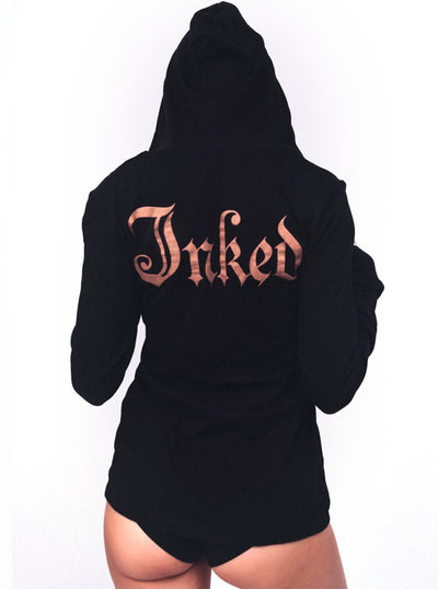 "Women's ""Inked Logo"" Long Sleeve Hooded Tee by Inked (More Options)"