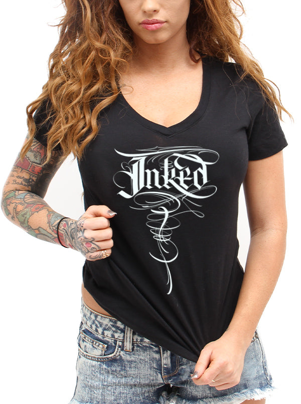 Women's Inked Lettering V-Neck Tee by B.J. Betts for Inked