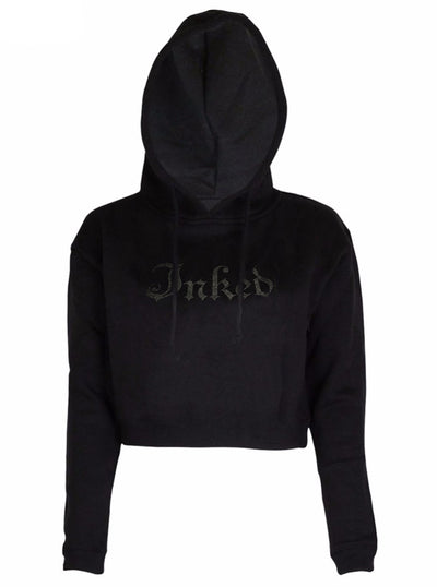 Women's Inked Logo Crop Hoodie by Inked (Black/Reflective)