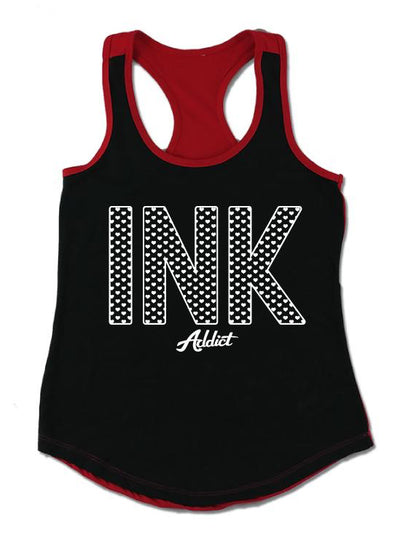 "Women's ""Ink Hearts"" Colorblock Tank by InkAddict (More Options)"