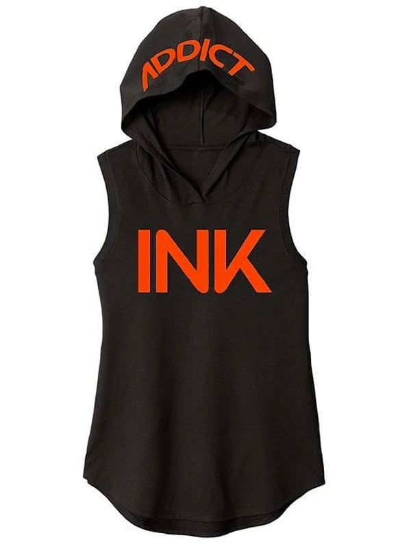 Women's Ink Orange Sleeveless Hoodie by InkAddict